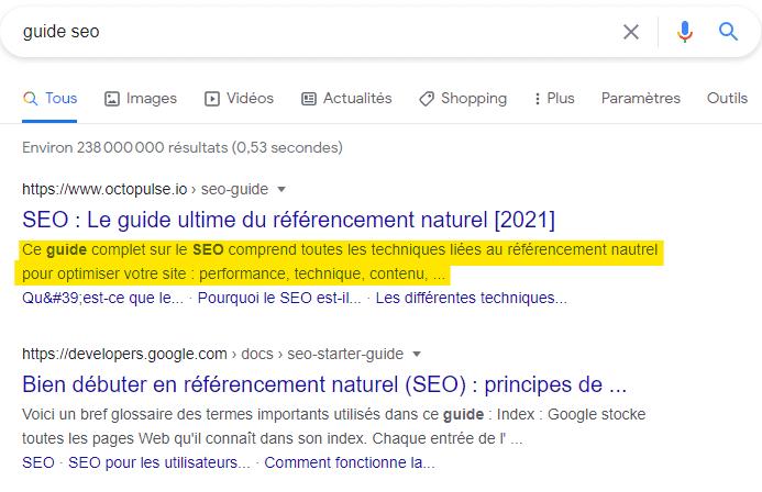 une meta description dans Google