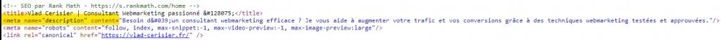 code de la meta description