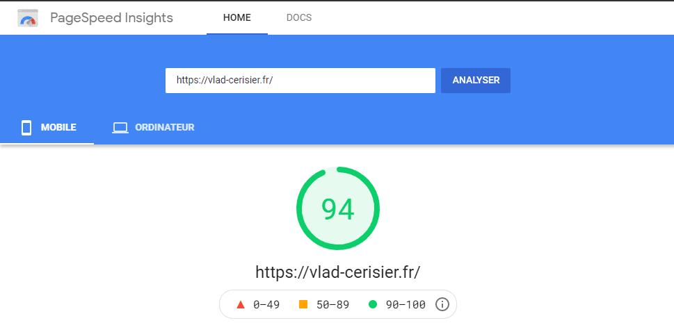score google page speed