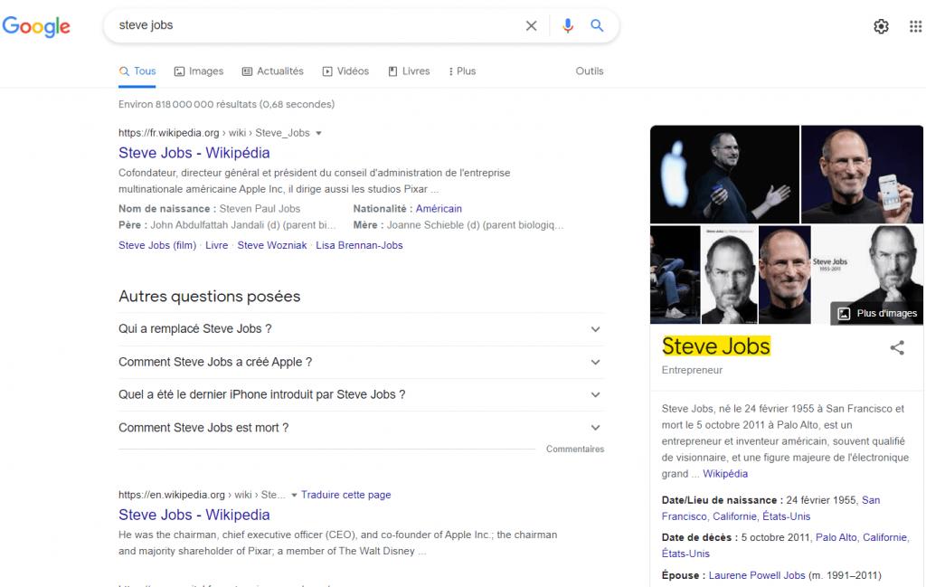 exemple de knowledge graph google